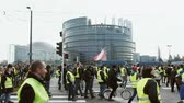 удара : STRASBOURG, FRANCE - FEB 02, 2018: Large crowd of people Gilets Jaunes Yellow Vest manifestation anti-government demonstrations in Strasbourg in Front of European Parliament