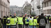 security measures : STRASBOURG, FRANCE - FEB 02, 2018: Rear view of thousands of Gilets Jaunes Yellow Vest manifestation on the 12 Saturday of anti-government demonstrations walking to Place Broglie