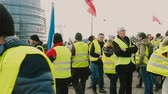 удара : STRASBOURG, FRANCE - FEB 02, 2018: Police and protestors in front of European Parliament - people demonstrating walking during protest of Gilets Jaunes Yellow Vest anti-government demonstrations Стоковые видеозаписи
