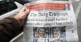 gazeta : Paris, France - Mar 15, 2019: Brexit delayed until further notice after gang of four rebels the Daily Telegraph title man buy press