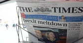 газета : Paris, France - Mar 15, 2019: Brexit meltdown tile on the times newspaper as British MPs have voted for a delay in the Brexit process for three months or more