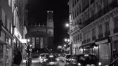 aziz : Paris, France - Circa 2019: Saint-Vincent de Paul Catholic Church in central Paris 9th arrondissement with perspective view from  Rue dHauteville street at night - black and white