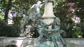 pedras : Paris, France - Circa 2017: Fountain monument of Eugene Delacroix fountain in Le Jardin du Luxembourg Stock Footage