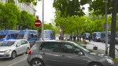 overheid : Strasbourg, France - Apr 28, 2019: Squadron of police gendarmerie vans securing entrance to Council of Europe over Allee de la Robertsau after altercations with Yellow Vests Gilets jaunes
