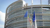 kurum : European Parliament headquarter in Strasbourg with all European Union Flags waving in the wind in the Sunday of 2019 European Parliament election - front big EU flags Stok Video