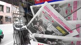 liberazione : Strasbourg, France - May 27, 2019: City scene with newspaper stand featuring breaking news Liberation newspaper front page with Yannick Jadot Green Party on street press kiosk newsstand with the results of 2019 European Parliament election
