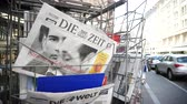 pov : Strasbourg, France - May 25, 2019: French street with press kiosk news breaking with Chancellor of Austria Sebastian Kurz on cover of Die Zeit newspaper