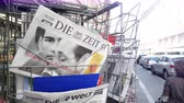 cikk : Strasbourg, France - May 25, 2019: French street with press kiosk news breaking with Chancellor of Austria Sebastian Kurz on cover of Die Zeit newspaper