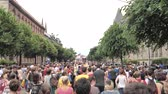 sesso : Strasbourg, France - Jun 8, 2019: Elevated perspective view of crowd of lesbian and gay with rainbow flags Bisexual Transgender LGBT GLBT celebrating at visibility march pride FestiGays Filmati Stock