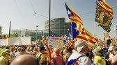 separatist : Strasbourg, France - Jul 2 2019: Republican Catalana and Estelada Catalan separatist flags crowd at protest front of EU European Parliament against exclusion of three Catalan elected MEPs
