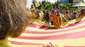 separatist : Strasbourg, France - Jul 2 2019: POV People holding immense Estelada Catalan separatist flags demonstration protest front of EU European Parliament against exclusion of three Catalan elected MEPs
