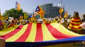 separatist : Strasbourg, France - Jul 2 2019: People holding immense Estelada Catalan separatist flags demonstration protest front of EU European Parliament against exclusion of three Catalan elected MEPs