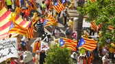 political rally : Strasbourg, France - Jul 2 2019: Overhead aerial view of people with Estelada separatist flags demonstrate protest at EU European Parliament against exclusion of Catalan elected MEPs Stock Footage