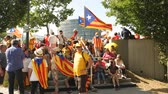 political rally : Strasbourg, France - Jul 2 2019: Senior people resting at the shadow with Estelada Catalan separatist flags at protest front of EU European Parliament against exclusion of three Catalan elected MEPs