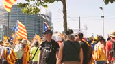 parlament : Strasbourg, France - Jul 2 2019: Group of people holding Estelada Catalan separatist flags demonstrate protest front of EU European Parliament against exclusion of three Catalan elected MEPs