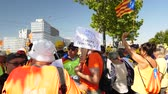 parlament : Strasbourg, France - Jul 2 2019: Catalan Vote Europe is Democracy protest front of EU European Parliament against exclusion of three Catalan elected MEPs