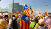 votação : Strasbourg, France - Jul 2 2019: Group of people holding Estelada Catalan separatist flags demonstrate protest front of EU European Parliament against exclusion of three Catalan elected MEPs