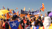 political rally : Strasbourg, France - Jul 2 2019: Europe help Catalonia - flags demonstrate protest front of EU European Parliament against exclusion of three Catalan elected MEPs Stock Footage
