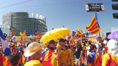 political rally : Strasbourg, France - Jul 2 2019: Group of people holding Estelada Catalan separatist flags demonstrate protest front of EU European Parliament against exclusion of three Catalan elected MEPs