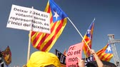 political rally : Strasbourg, France - Jul 2 2019: People holding immense Estelada Catalan separatist flags demonstration protest front of EU European Parliament against exclusion of three Catalan elected MEPs