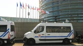 political rally : Strasbourg, France - Jul 2 2019: Police surveillance vans in front of European Parliament as Catalan protesters demonstrating against exclusion of three Catalan elected MEPs