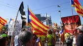 political rally : Strasbourg, France - Jul 2 2019: Never surrender people with flags demonstrate protest front of EU European Parliament against exclusion of three Catalan elected MEPs Stock Footage