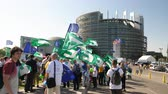 political rally : Strasbourg, France - Jul 2 2019: Large Group of people with waving Flags of the European Movement Federalist flag protesting in front of European Parliament