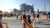 political rally : Strasbourg, France - Jul 2 2019: Group of senior people holding placards walking at demonstration protest front of EU European Parliament building against exclusion of Catalan elected MEPs slow motion