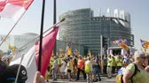 political rally : Strasbourg, France - Jul 2 2019: Spanish people with flags and placards at protest in front of EU European Parliament demonstrating against exclusion of three Catalan elected MEPs