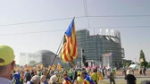 catalão : Strasbourg, France - Jul 2 2019: Thousands of Estelada Catalan separatist flags in Spanish people hands at protest front of EU European Parliament against exclusion of three Catalan elected MEPs