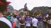 motion timelapse : STRASBOURG, FRANCE - JULY 15, 2018: Time lapse fast motion Happiness and jubilation of supporters after the victory of the French team in the final of the World Cup football in Russia
