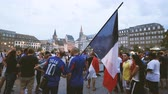 oslava : STRASBOURG, FRANCE - JULY 15, 2018: Man with Zidane T-Shirt - Happiness and jubilation of supporters after the victory of the French team in the final of the World Cup football in Russia