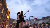 jubel : STRASBOURG, FRANCE - JULY 15, 2018: Happiness and jubilation of supporters girls with flag after the victory of the French team in the final of the World Cup football in Russia against Croatia