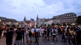 oslava : STRASBOURG, FRANCE - JULY 15, 2018: Thousands in place Kleber Happiness and jubilation of supporters after the victory of the French team in the final of the World Cup football in Russia