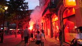 oslava : STRASBOURG, FRANCE - JULY 15, 2018: Yelling and singing Happiness and jubilation of supporters after the victory of the French team in the final of the World Cup football in Russia against Croatia