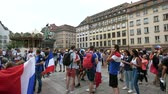 jubel : STRASBOURG, FRANCE - JULY 15, 2018: supporters gathering central square after the victory of the French team in the final of the World Cup football in Russia against Croatia