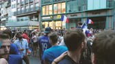 mcdonalds : STRASBOURG, FRANCE - JULY 15, 2018: Happiness and jubilation of supporters after the victory of the French team in the final of the World Cup football in Russia against Croatia Stock Footage