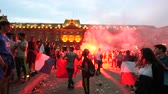 jubel : STRASBOURG, FRANCE - JULY 15, 2018: Smoke grenade as happiness and jubilation of supporters after the victory of the French team  in Russia against Croatia