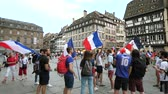 jubel : STRASBOURG, FRANCE - JULY 15, 2018: jubilation of supporters after the victory of the French team in the final of the World Cup football in Russia against Croatia Stock Footage
