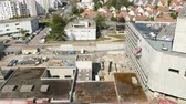 cantiere edile : Strasbourg, France - Circa 2016: Aerial View over hospital construction building site in Strasbourg Hopital de Hautepierre - investing in new modern medicine