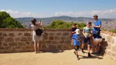 montjuic : Tourists on Montjuic viewing point