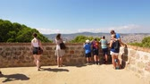 montjuic : Tourists on Montjuic viewing point, Barcelona, Spain