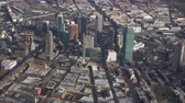 helicopter view : Skyline of Queens Plaza, Long Island City. New York, United States of America. Aerial View Stock Footage