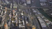 koninginnedag : Long Island City and Newtown Creek. Queens, New York City, United States of America. Aerial View. Reveal Shot
