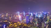 Шэньчжэнь : SHENZHEN, CHINA - MARCH 30, 2019: Urban Skyline and Light Show. Futian District. Aerial Time Lapse, Hyper Lapse. Drone Flies Sideways Стоковые видеозаписи