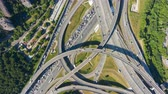 Road Junction and Cars Traffic in Summer Day. Flyover. Aerial Vertical Top-Down Hyper Lapse. Drone Hovering