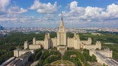 Moscow State University and Skyline at Sunny Day. Blue Sky with Clouds. Russia. Aerial Hyper Lapse, Time Lapse. Drone Flies Upwards