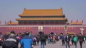 forbidden city : BEIJING, CHINA - MARCH 15, 2019: Tiananmen Square and Gate to Forbidden City at Clear Day. Medium Shot. Stock Footage
