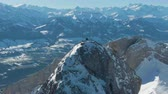 counterclockwise : Mountain Pilatus Top in Winter Sunny Day. Swiss Alps, Switzerland. Aerial View. Drone is Orbiting