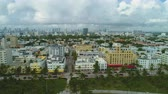 wide shot : Miami Beach and Miami Downtown on Cloudy Day. Urban Cityscape. Aerial View. United States of America Stock Footage